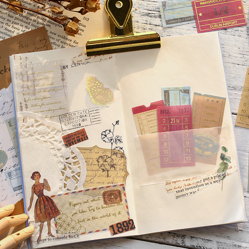 40pcs/pack Museum Series Decorative Stickers Scrapbooking Stick Label Diary Album Stationery Retro Stamp Plant Sticker