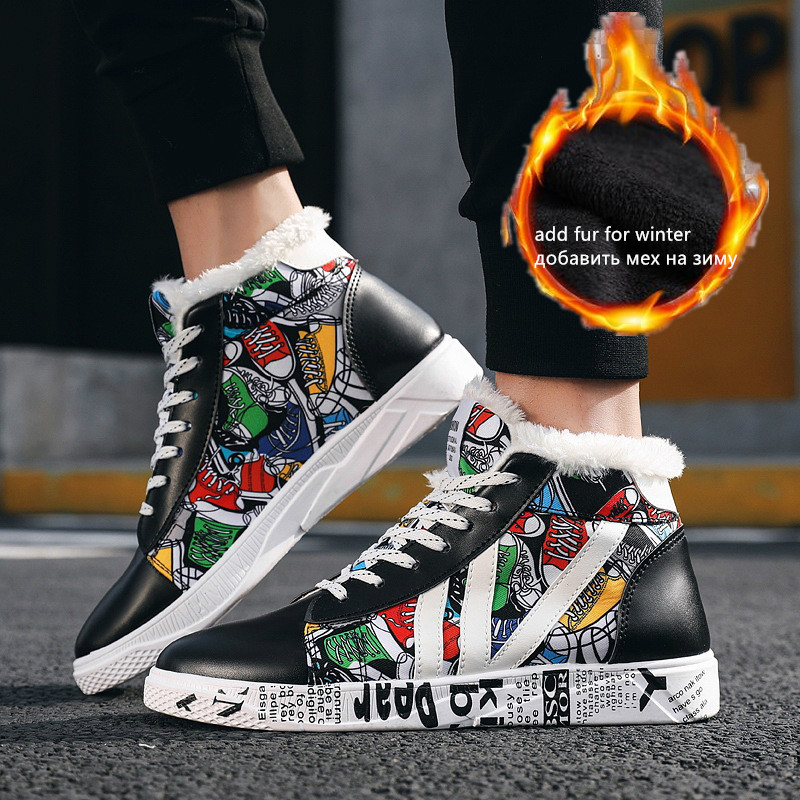 2019 Shoes Men Hip-hop Skateboards Sneakers Printed High Top Shoes Men