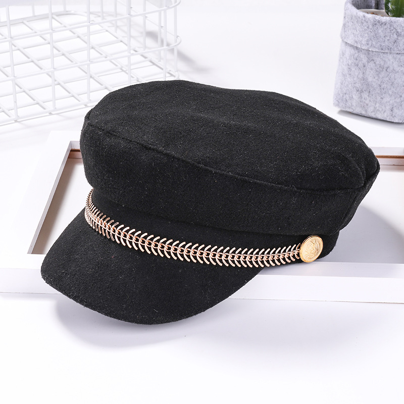 Octagonal-Cap Badge Beret-Side RB Newsboy British-Style Retro Military Autumn Winter title=