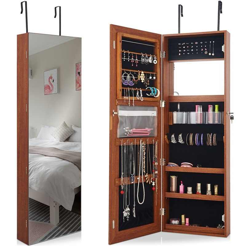 Lockable Storage Jewelry Cabinet With Frameless Mirror Morden Bedroom Door Mounted Storage Bins Jewelry Armoire Cabinet HW60386|Storage Boxes & Bins| - AliExpress