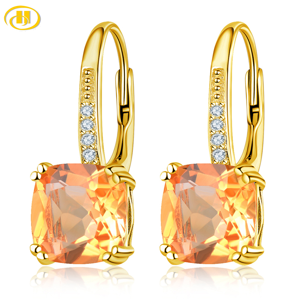 Xmas Jewelry Lady Fine Clear Topaz White Gold Plated Dangle Drop Earrings New