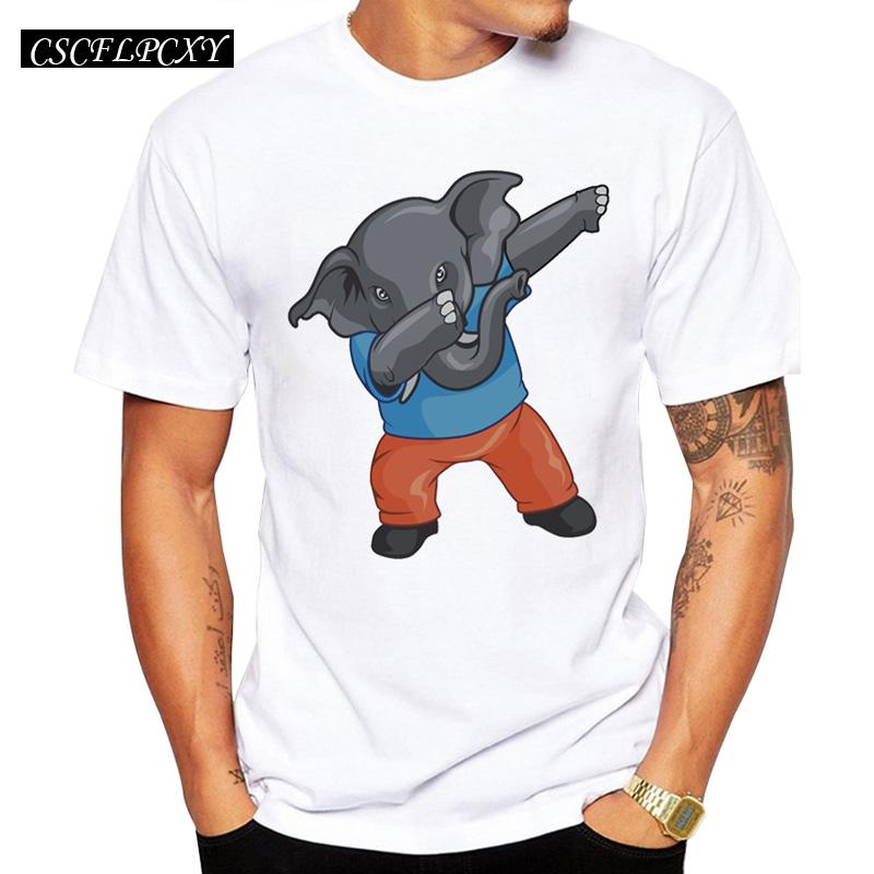 2017-Elephant-dabbing-Men-T-Shirt-Hipster-Short-Sleeve-T-Shirt-Fashion-Unicorn-Dabbing-Dance-Printed