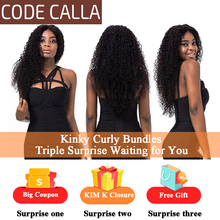 Weave Bundles Extensions Human-Hair Code Calla Brown Virgin Kinky Curly Brazilian Pre-Colored