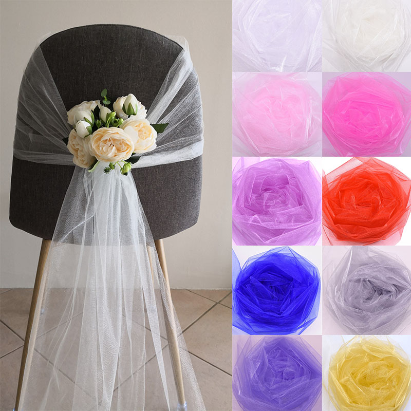 10m X 48cm Transparent Tulle Yarn Crystal Organza Fabric for Wedding Birthday Party Balloon Arches Decoration DIY Event Supplies