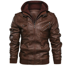 Motorcycle Jacket Classic Faux-Leather Male High-Quality Plus