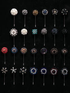 Men Brooch Pins-Accessory Suits Beaded Crystal Handmade Floral Luxury Fashion for Rhinestone