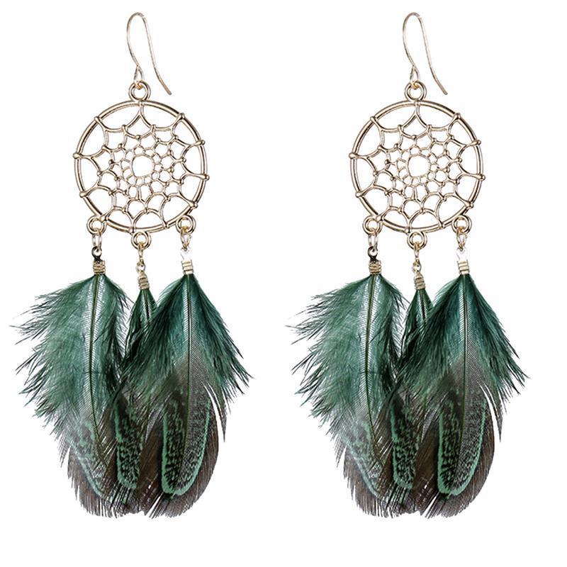 Boucles d'Oreilles Attrapes Rêve à Plumes Turquoise bijoux femme bohème chic style mode indienne été soleil boho capteur de rêves amérindien