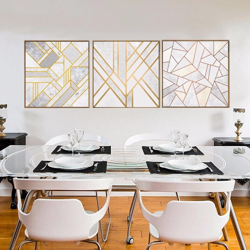 Pintura-em-Tela-abstrata-Geom-trica-Cinza-Ouro-Vermelho-N-rdico-Cartazes-Retrato-Da-Arte-Da