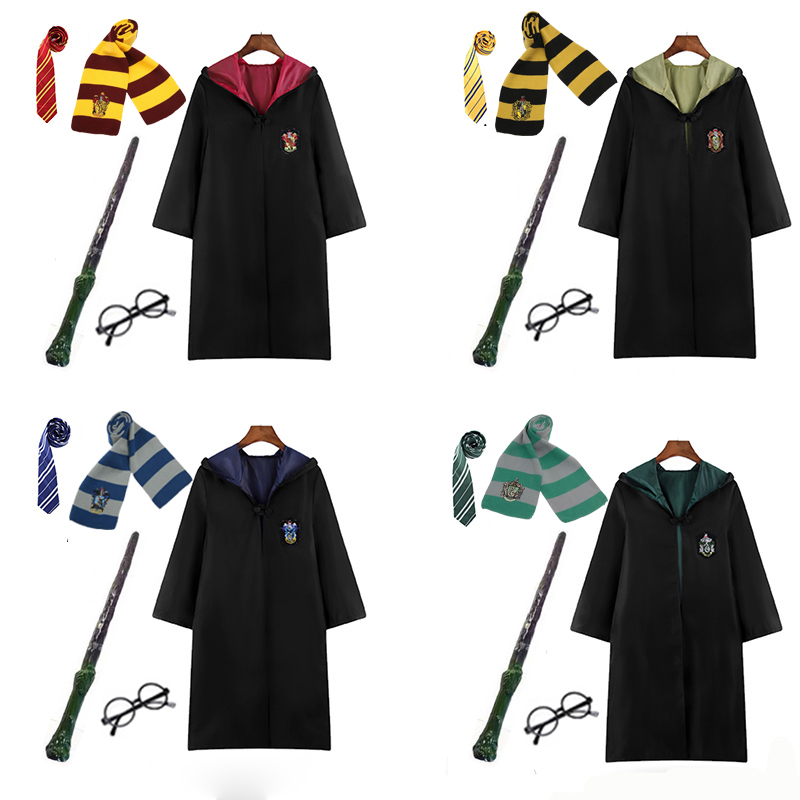 Potter Costume Gryffindor Robe Magic Ravenclaw Hufflepuff Slytherin Cloak Tie Scarf Wand School Robe Halloween Potter Cosplay title=