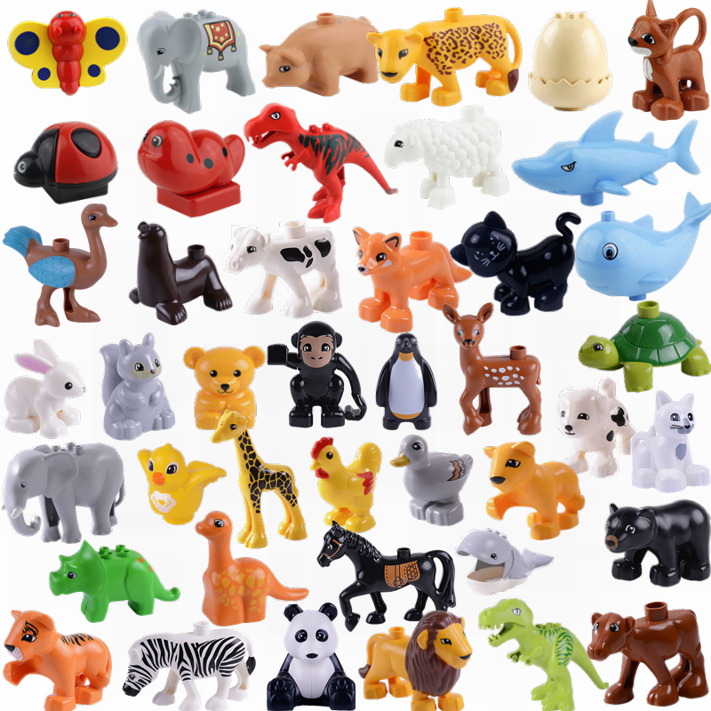 Legoing Duplo Animals Sets Big Blocks Panda Cat Lion Tiger Dog Figures Toys Compatible Legoing Duplo Farm Bricks Christmas Gifts