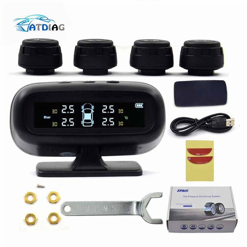 Monitor-System-Display Car-Tire-Pressure-Alarm Temperature-Warning Solar Tpms 4-Sensors title=