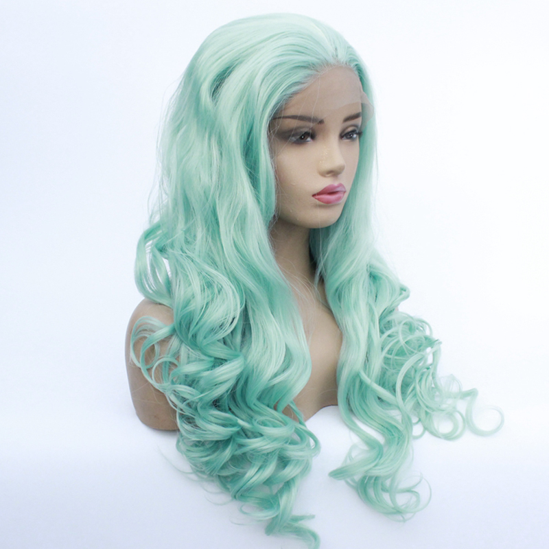 Green Wig for Women Long Body Wave Lace Front Wigs with Natural Hairline Cheap Light Green Synthetic Hair Cosplay Wigs for Party