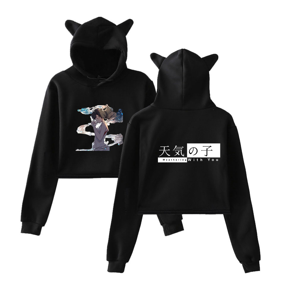 2D Son of the weather Women Casual Popular long sleeve sweatshirt Navel Hoodies Sweatshirts 2019 Cat Ear Hooded