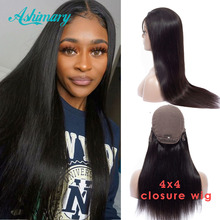 Ashimary Lace Wigs Human-Hair Pre-Plucked Black Women Brazilian 4x4 Straight for