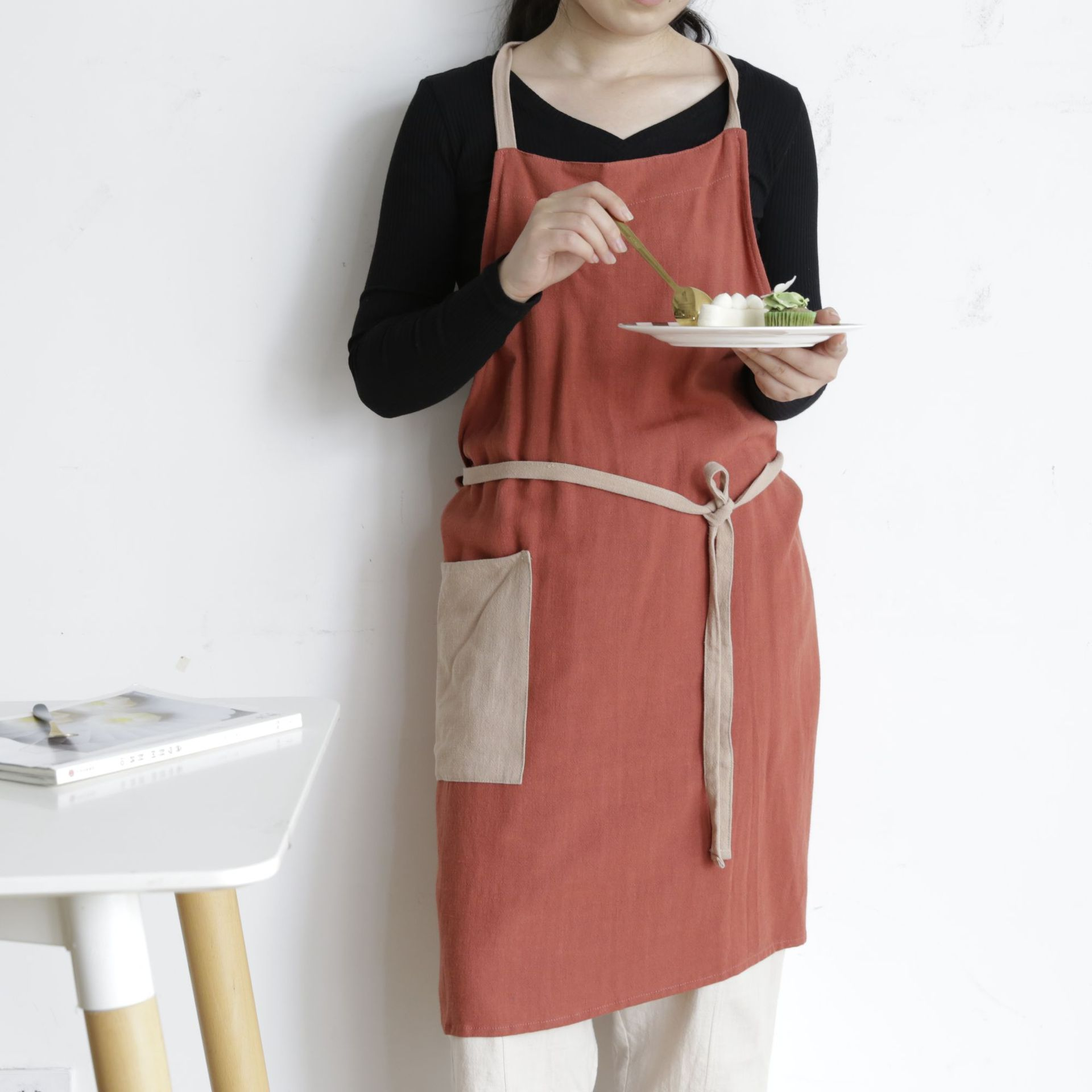 Solid Colors Thin Cooking Kitchen Apron Summer Women Home Cleaning Hairdresser Sleeveless Aprons Work Clothes Kitchens Accessory
