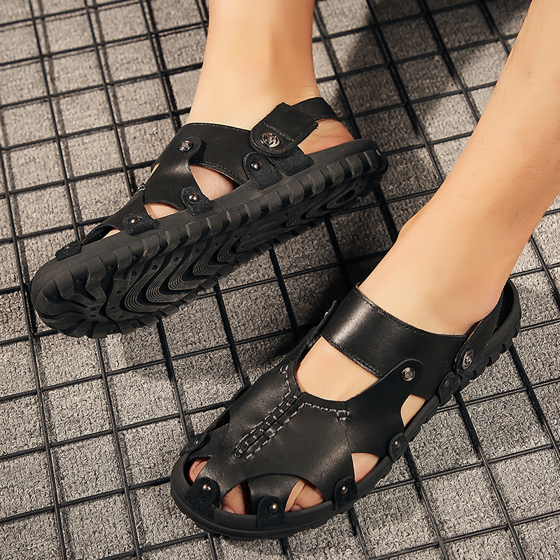 Men/'s Casual Leather Sandals Men Roman Genuine Leather Sandals Man Summer Shoes Male Comfortable Beach Slippers Big Size
