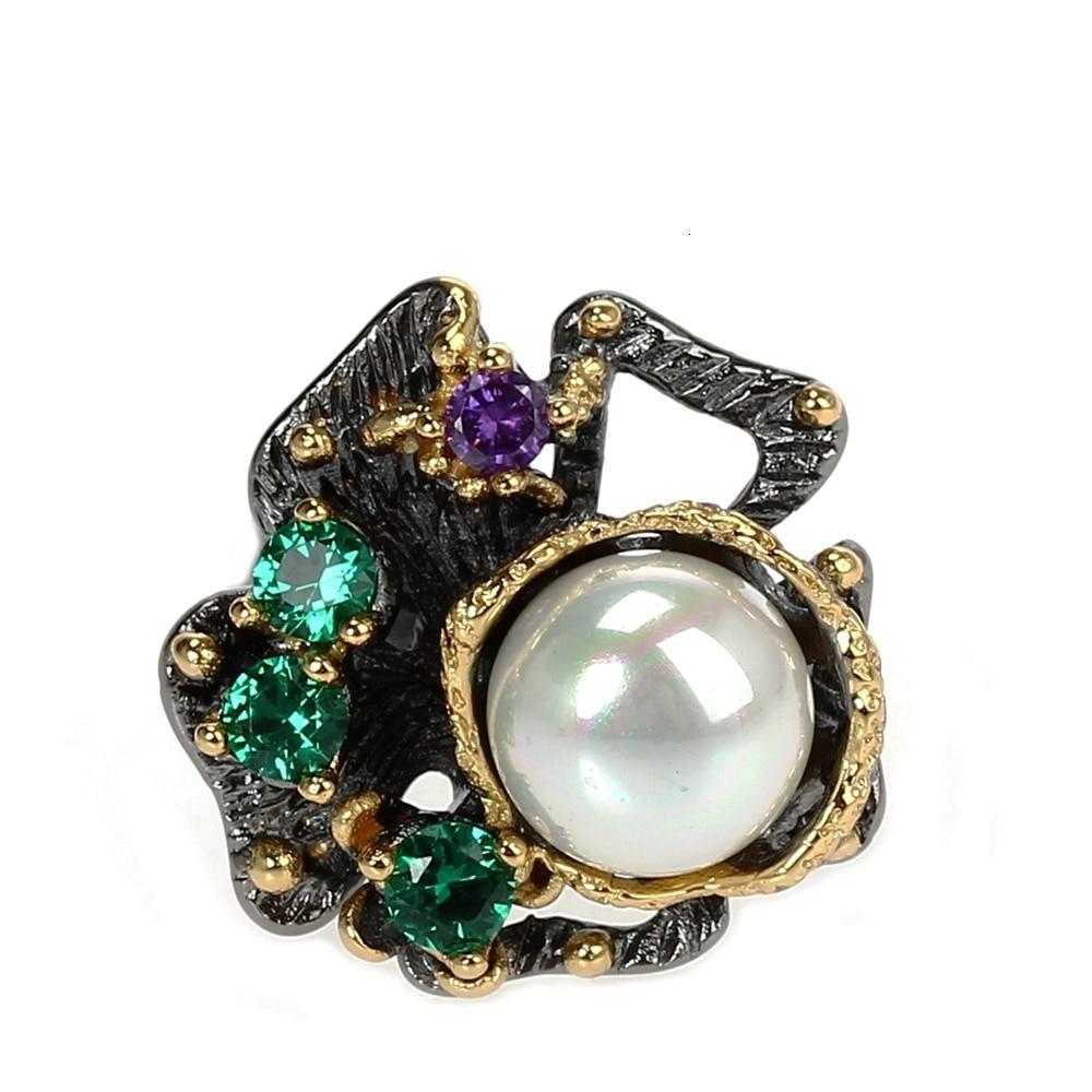 WA11637 pearl flower ring women vintage gothic stone jewelry (2)