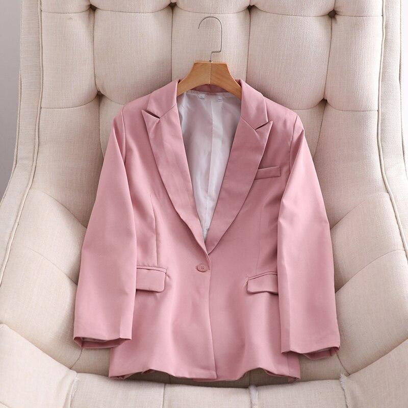 Spring Autumn OL Work Pants Suit Women Single Button Office Lady Blazer Jacket +  Trouser Blue Pink 2 Piece Set Female Outfits