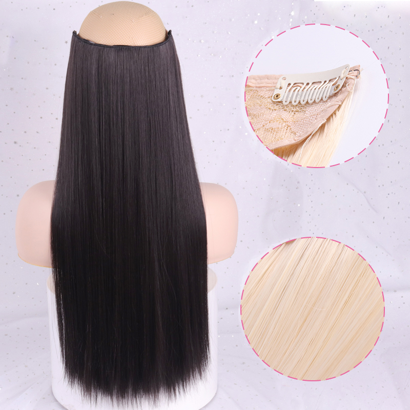 WERD Hair-Extensions Synthetic-Hair-Piece Brown Clip-In Straight Long Black High-Tempreture title=
