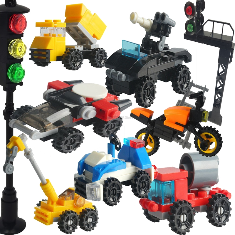 Legoing Technic City Car Train Police Tank Road Roller Crane Rocket Jet Sports Car Traffic light Toy Set Legoing Building Blocks