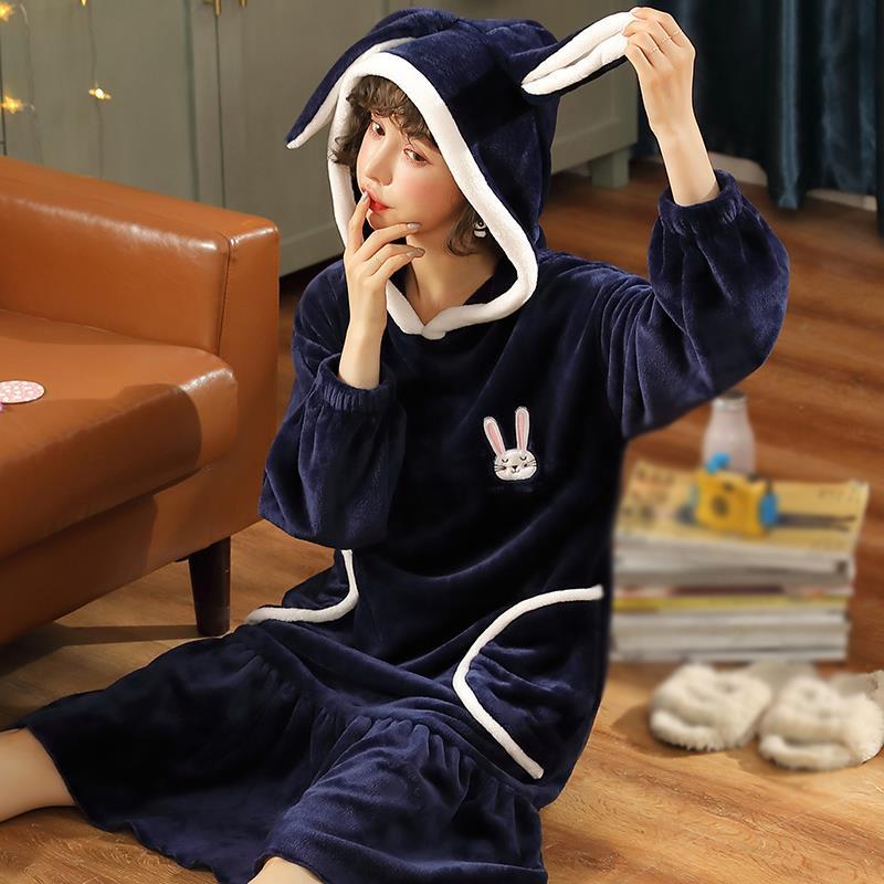 Coral Velvet Bathrobe Women Cartoon Cute Warm Hooded Robe Solid Casual Rabbit Flannel Kimono Bath Robes Dressing Gowns