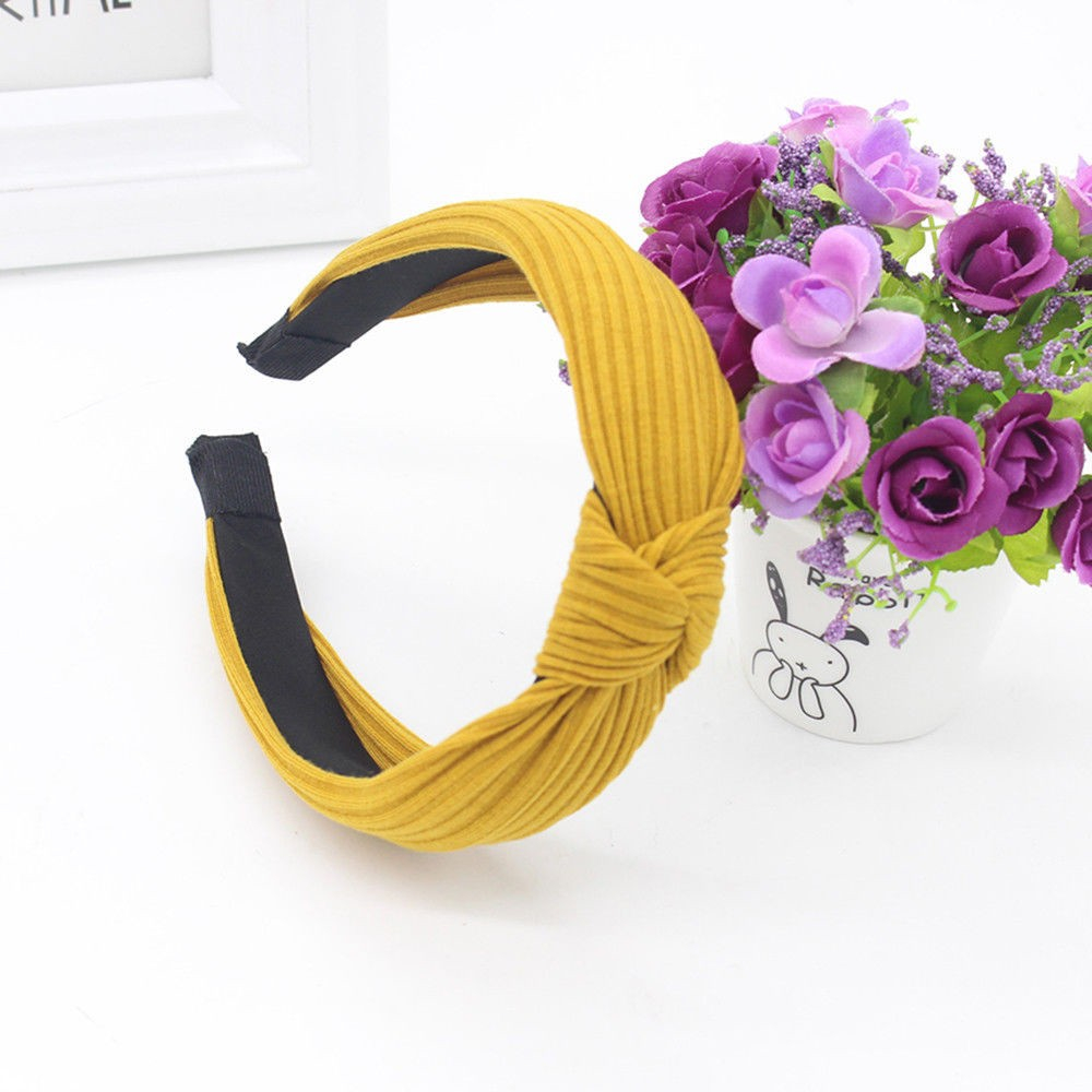 2019 Women Headbands Knotted Brand New Casual Knitted Winter Solid Turban Warm Elastic Head Wrap Wide Hair Accessories 923