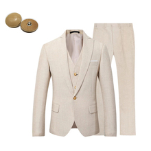 Men Suit Beige Wedding Prom-Dress Groom Linen Casual Stylish Party-Wear Ivory