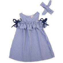 Hot 2020 New Summer Dress Toddler Kids Baby Girls Lovely Birthday Clothes Blue Striped Off-shoulder Ruffles Party Gown Dresses(Китай)