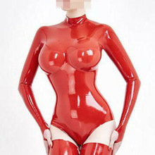 Latex Catsuit Rubber Not-Including-Stockings Women Sexy Breast 3D