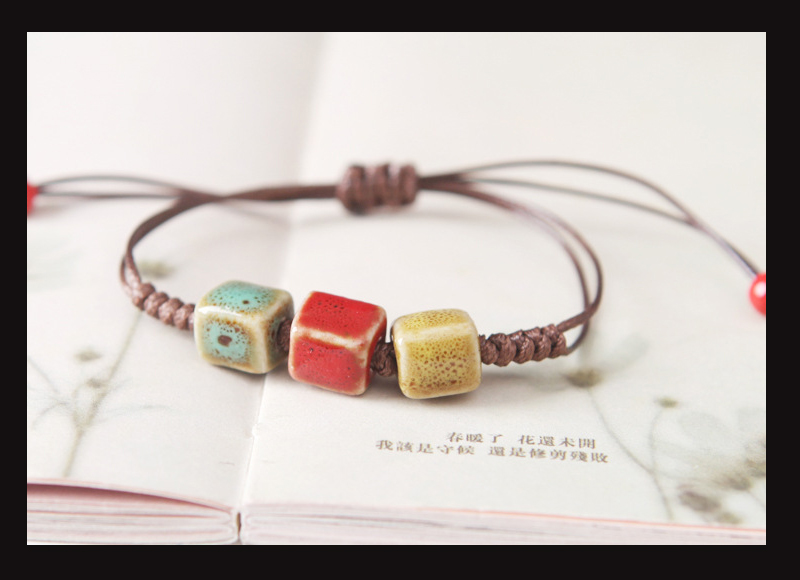New Simple Bracelet For Women Charm Ethnic Style Heart Square Oblate Triangle Shape Ceramic Pendant Bracelet Female 7