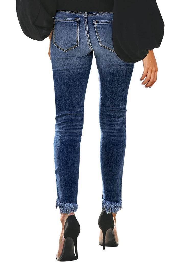 Women Skinny Ninth Jeans Pleated Distressed Denim Pencil Pants Destroyed Casual Trousers  Ripped Cropped Jeans Femme Slim Jeansy
