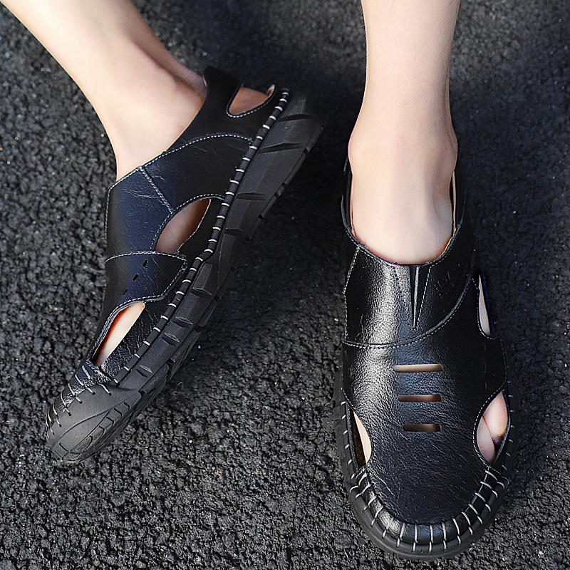 2020 New Style Men Summer MEN/'S SHOES Lazy Casual Porous Genuine Leather Closed-toe Sandals Slipper Beach Men/'s Leather Shoes