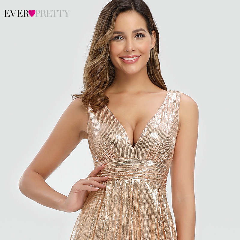 Rose Gold Saudi Arabia Evening Dresses For Women Ever Pretty EP00825RG A-Line V-Neck Sequined Sexy Formal Party Gowns Vestidos