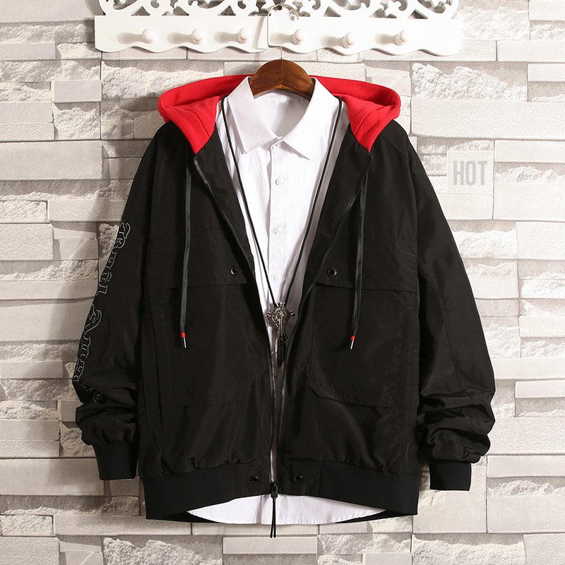 Autumn New Style Men/'s Wear Korean-style Hong Kong Style Teenager Printed Letter Hooded Jacket Coat Men Casual Jacket