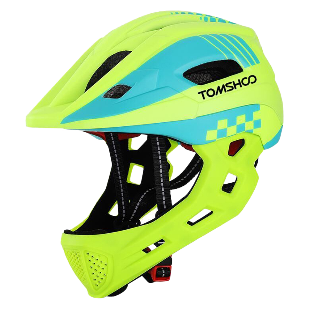 TOMSHOO Casco integrale per bicicletta per bambini per skateboard scooter casco sportivo con fanale posteriore e mento rimovibile