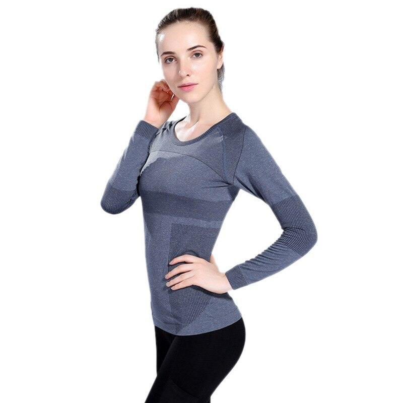 Jacquard long sleeve wear seamless high elastic breathable T-shirt moisture wicking fitness leisure jacket for women thumbnail