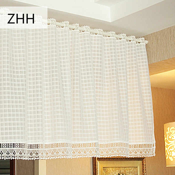 Kitchen Curtain Plaid Pattern White Curtain with Lace Edge Pastoral Short Sheer Curtains for Kitchen Window Valance for Bedroom