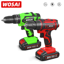WOSAI New 20V Cordless Drill Driver Screwdriver Mini Wireless Power Driver DC Lithium-Ion Battery 25+1 Settings Home DIY Keyless