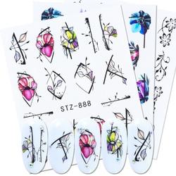 1 шт., водная наклейка для маникюра с цветами