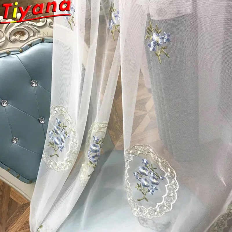 Round Flower Embroidered Tulle Curtains for Living Room Blue Tulle European Pastoral Voile Princess Window Drapes zss0032#40