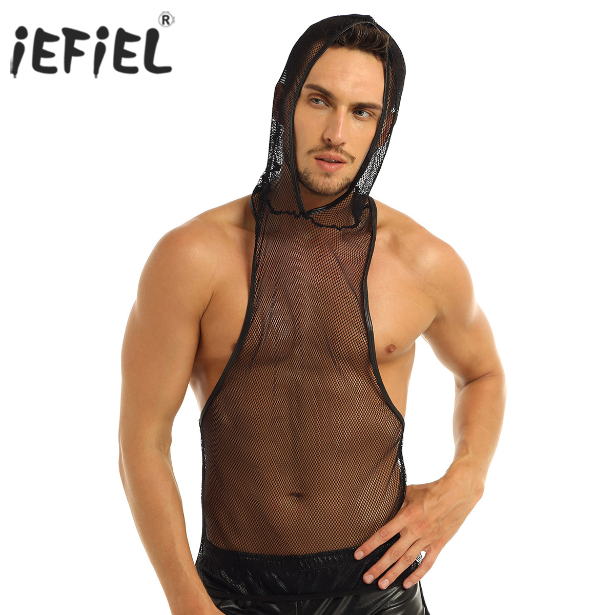 Mens Workout Hooded Transparent Shirt Fishnet Hooded  Muscle Crop Top Gym Tops