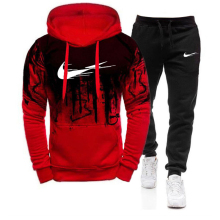Thick Sweatshirt Sportswear-Sets Hooded Men Winter Autumn Male 2pcs Tracksuit