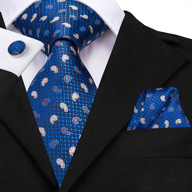 SN-1446 New Classic Mens Tie Silk Polka Dot Blue Necktie Jacquard Woven Wedding