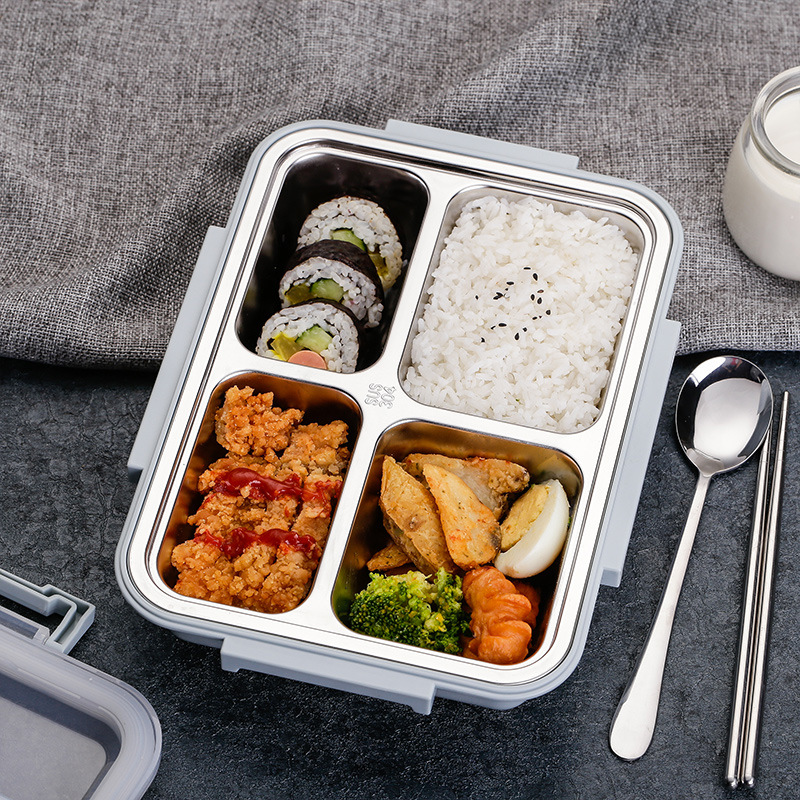Korean Style Simple 304 Stainless Steel Insulated Container Students Lunch Box with Lid Seperated Canteen Adult Plate Lunch Box