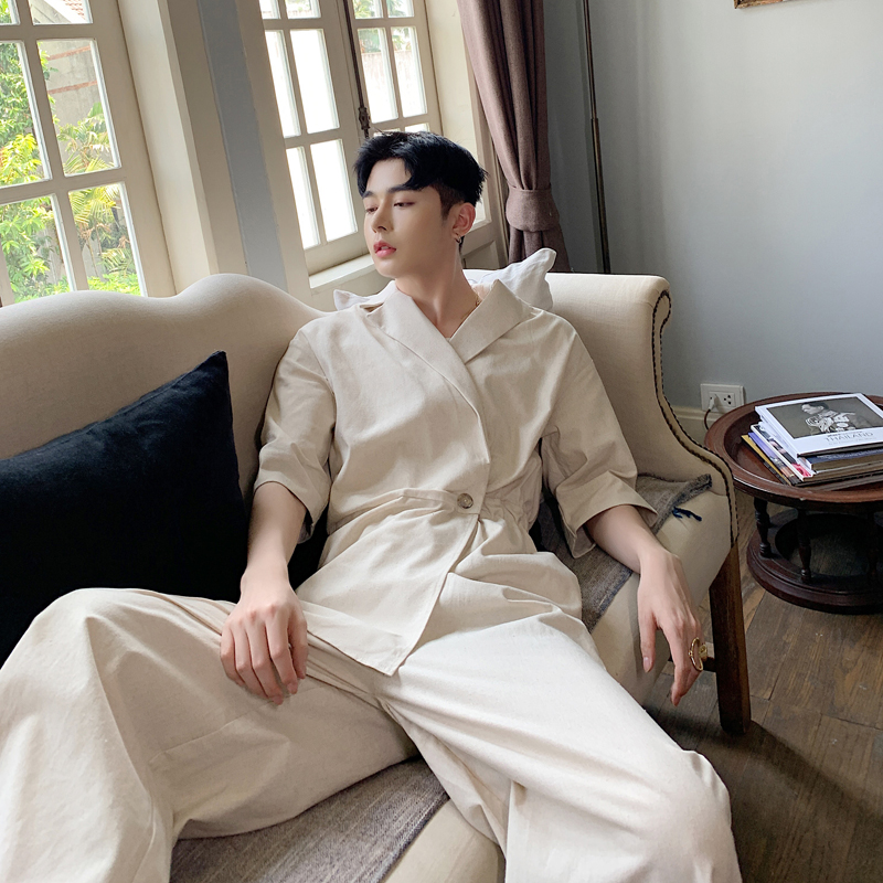 2020 Summer cotton & linen high waist jumpsuit wide leg pants men/'s vintage suit collar fashion overalls
