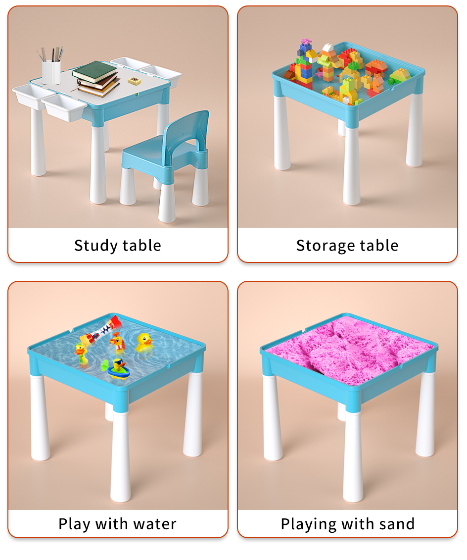 Activity Table Set with Double-sided Desktop and 128 Pcs Building Blocks 8