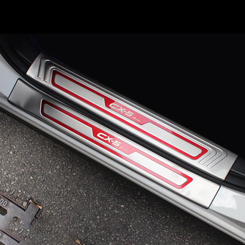 High Quality Stainless Steel Scuff Plate//Door Sill Protector Sticker Car Styling for 2013 Mazda CX-9