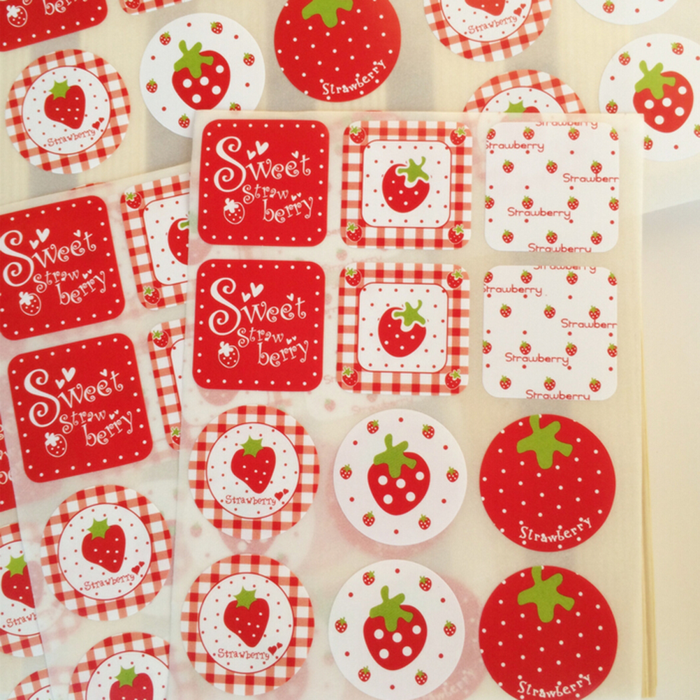 Cute Strawberry Pattern Scrapbook Paper Sticker Label Adhesive Stickers new Decoration Gifts 24 Pcs/lot Wholesale