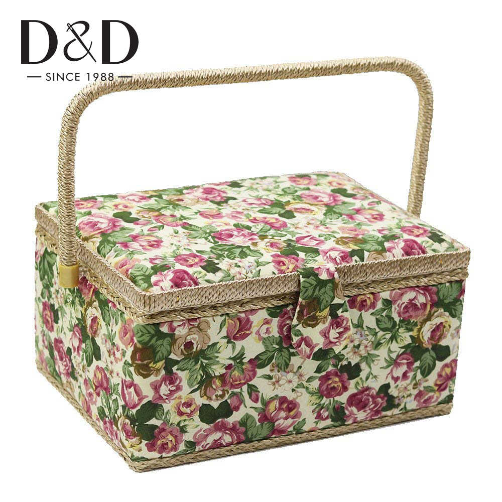 Jewelry Sewing Kit Storage Box with Removable Tray Household Embroidery Set Hand-Made Knitting Tool for Storing Needlework Large Sewing Box Organizer Sewing Basket