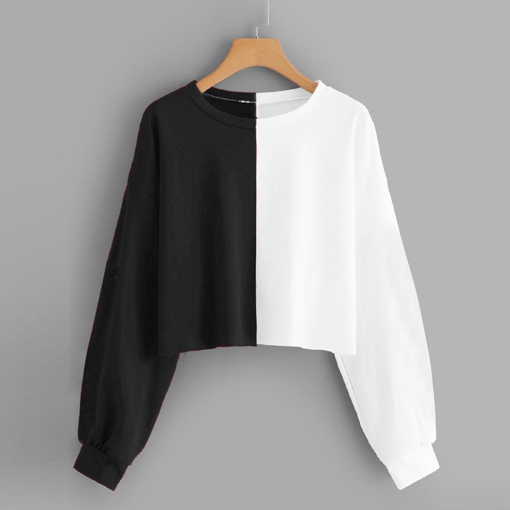 JAYCOSIN Fashion Women Casual Simple Sweatshirt Splice Long Sleeve Comfortable Popular Solid Color Soft Top Blouse